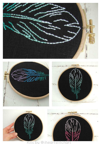 FEATHER - EMBROIDERY KIT - BLACK & PEACOCK