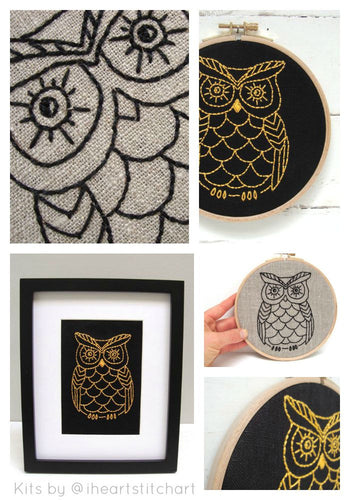 OWL - EMBROIDERY KIT - NATURAL & BLACK