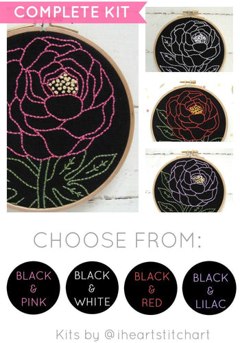PEONY - EMBROIDERY KIT - BLACK & PINK