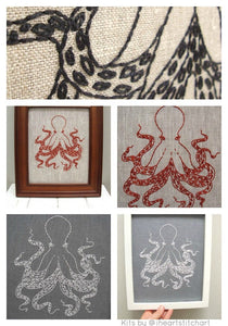 OCTOPUS - EMBROIDERY KIT - NATURAL & BLACK