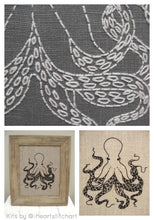 Load image into Gallery viewer, OCTOPUS - EMBROIDERY KIT - NATURAL & BLACK