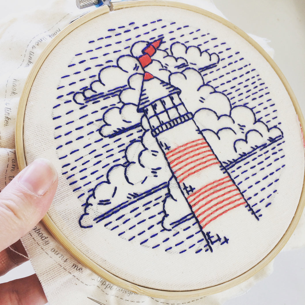 LIGHTHOUSE AND CLOUDS - COMPLETE EMBROIDERY KIT
