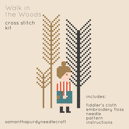 WALK IN THE WOODS - DIY CROSS STITCH KIT