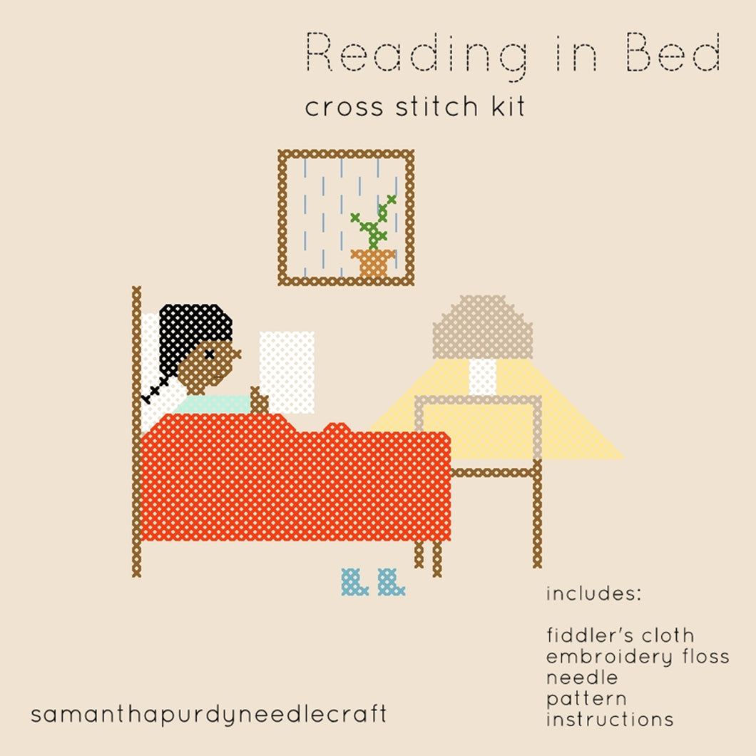 READING IN BED - DIY CROSS STITCH KIT