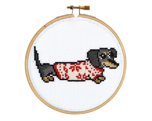 COZY DACHSHUND - DIY Cross Stitch Kit