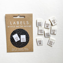 "Load image into Gallery viewer, ""SIZE:ME/YOU"" - WOVEN LABELS 8 PACK"