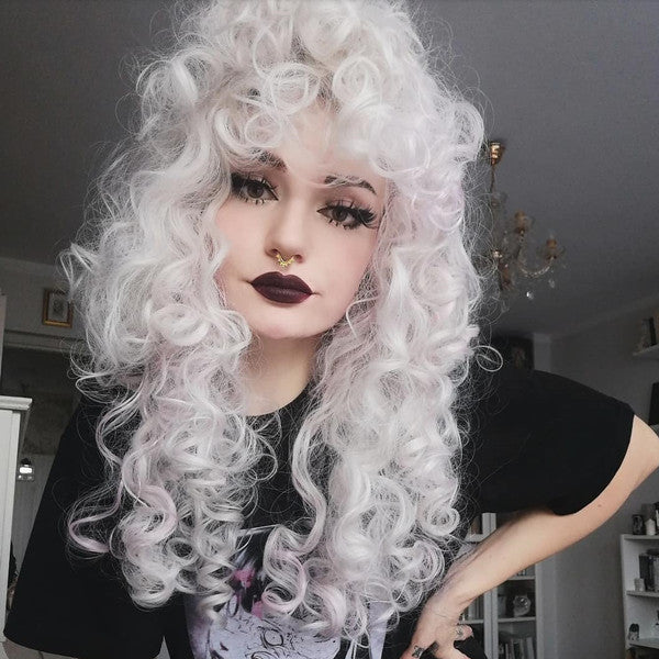 Review from Lolita Moon white mixed pink long curly wig DB5756