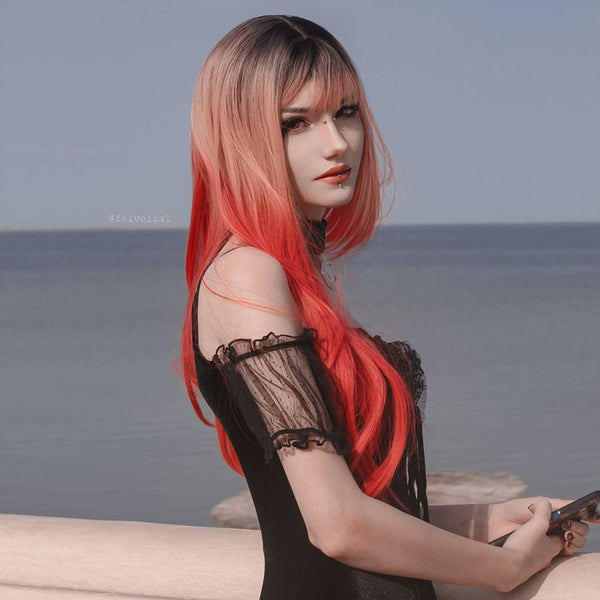 Review from Harajuku pink gradient red wig DB5739