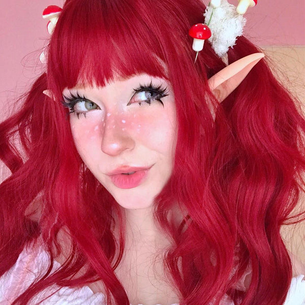 Harajuku Rose Red Long Curly Wig DB5447