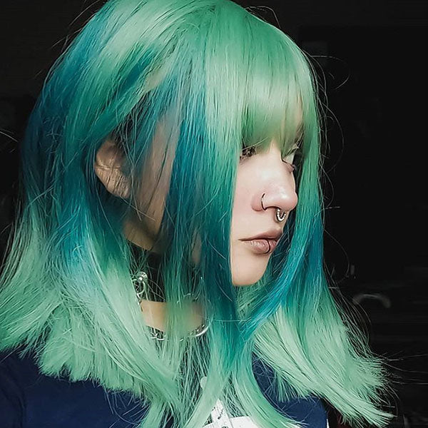 Green gradient blue clavicle wig DB4113