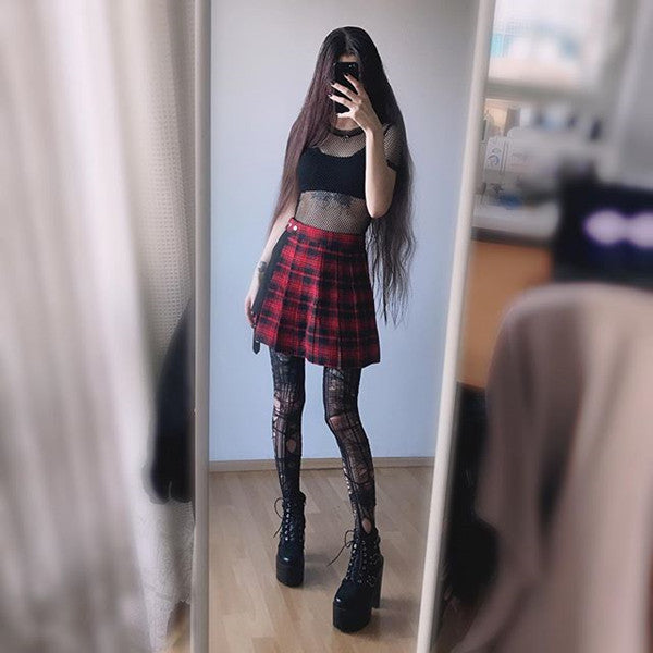Dark  plaid skirt  DB4010