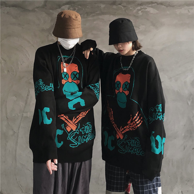 Dark cartoon jacquard loose sweater (men and women) DB4762