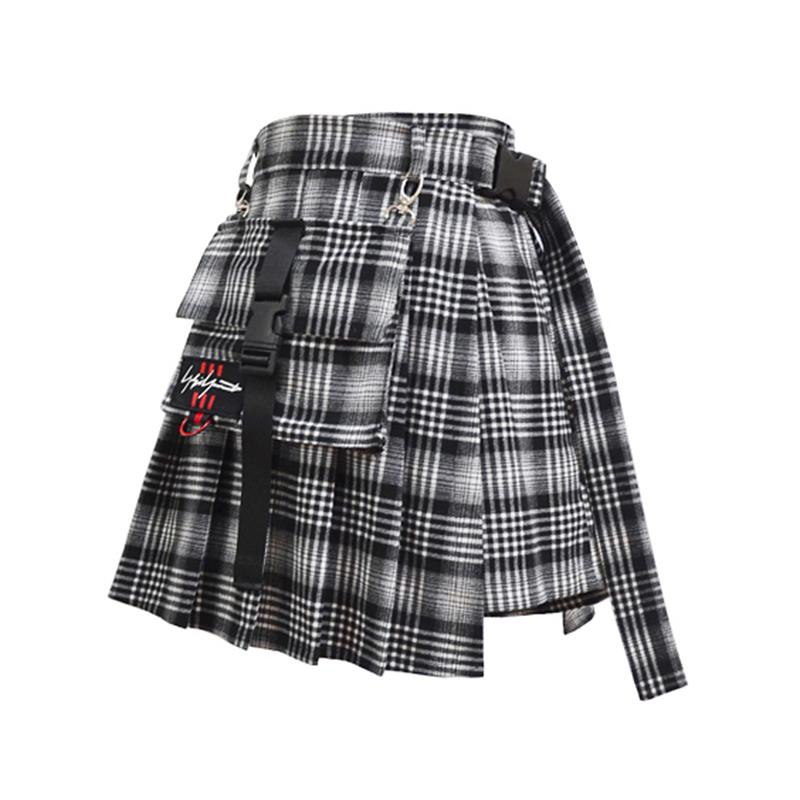 Ulzzang black plaid skirt DB2001