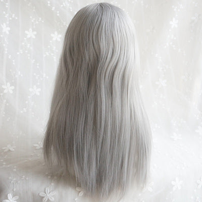 Silver white air bangs long wig DB4121