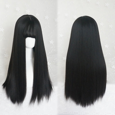 Natural black long wig DB4071