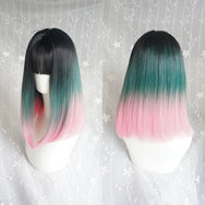 Harajuku black green powder gradient wig DB4560