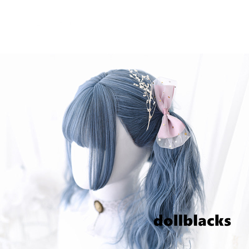 Lolita smog blue long curly hair wig DB4789
