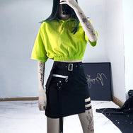 Fluorescent green Polo collar short t-shirt DB4170