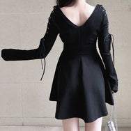 Dark V-neck dress DB2034