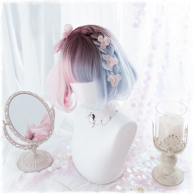 Lolita original tea dyed blue powder wig DB4836