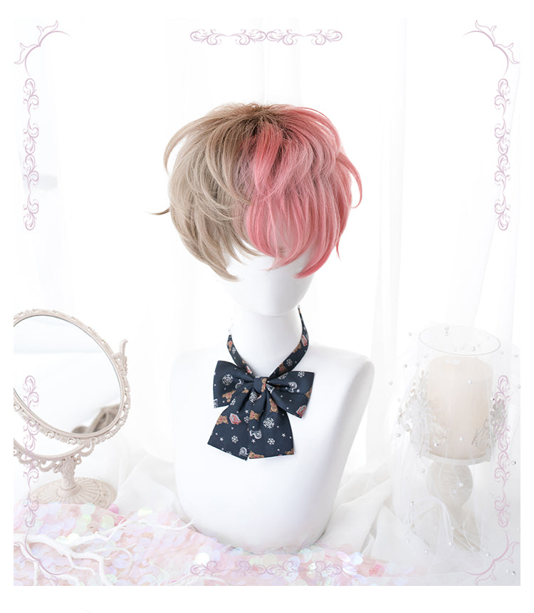 Lolita light brown + pink wig DB4839