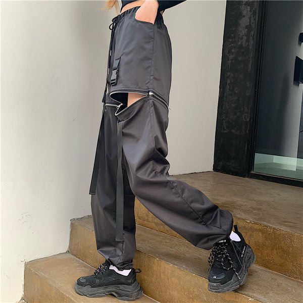 Punk Detachable Black Casual Pants DB5243