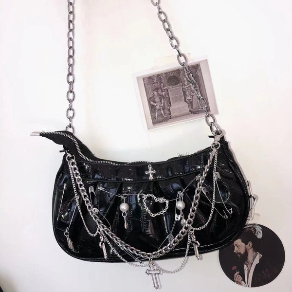Gothic patent leather crossbody bag DB7102