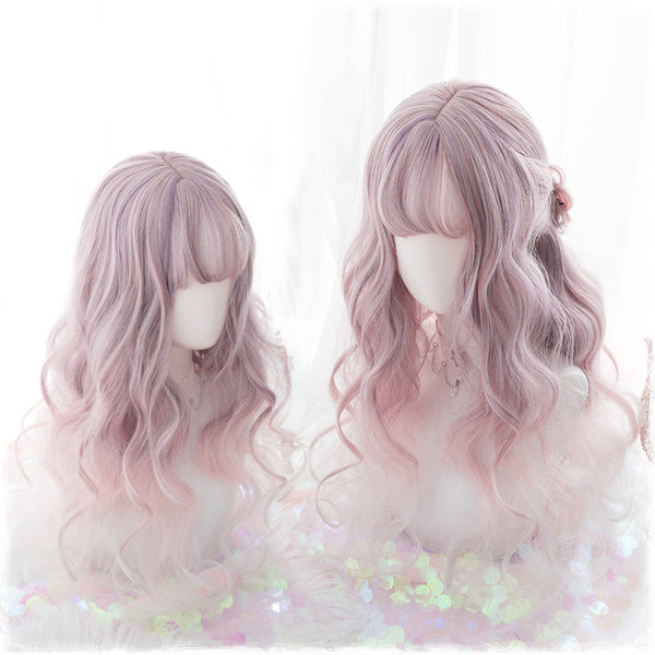 Lolita powder purple gradient long curly hair wig DB4818