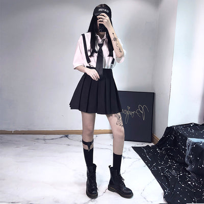 Punk strap pleated skirt DB4143