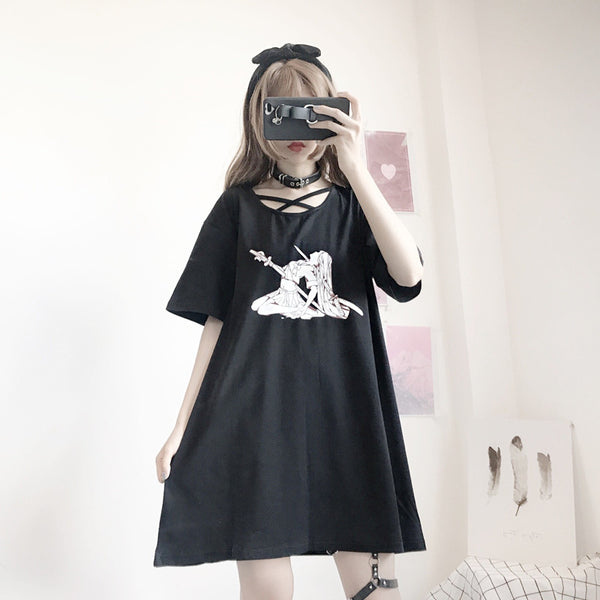 Anime print dress DB6120