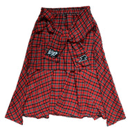 Letter embroidered red plaid skirt DB5321