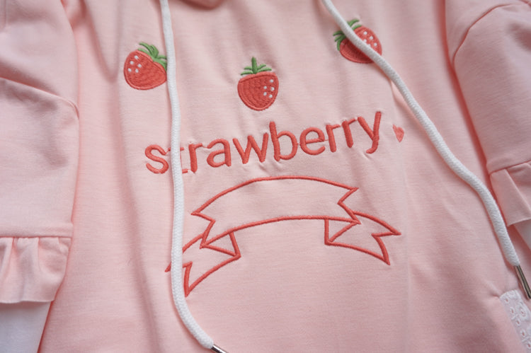 Strawberry embroidery color matching sweater DB5989