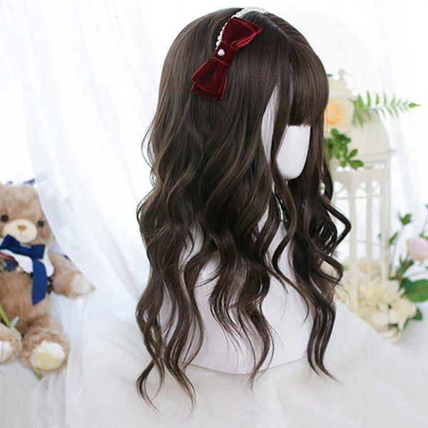 Long brown curly wig DB5461