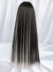 Harajuku black brown highlighting silver gray wig DB5747