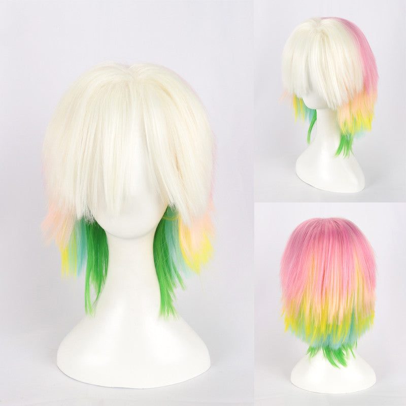 Rainbow color mixed short straight hair   DB5554