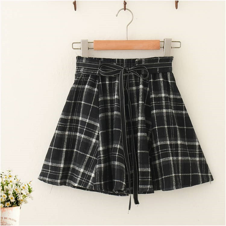 All-match plaid pleated skirt  DB6371