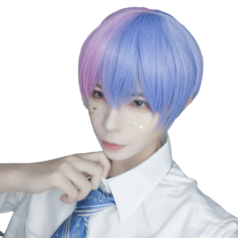 Blue powder color matching short wig DB5497