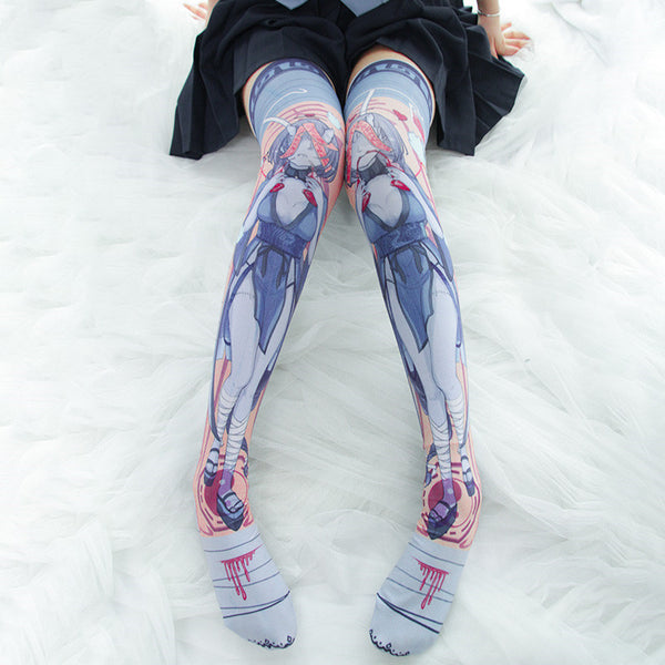 Dark zombie girl printed paint socks DB4694
