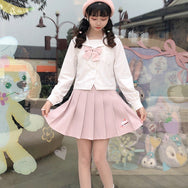 Blue White Pink Pleated Skirt DB5470