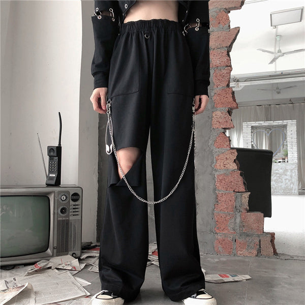 Punk hole black wide leg pants DB5242