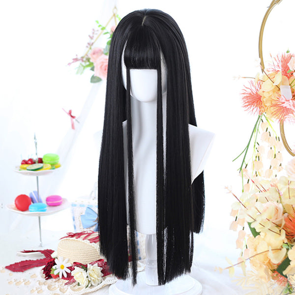 Natural black long straight hair wig DB5453