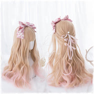 Lolita apricot gradient light pink long curly hair wig DB4822