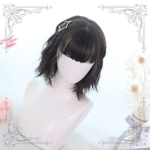 Lolita lemon tea short curly hair wig  DB4353