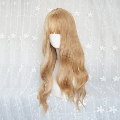 Golden long curly hair wig DB4088