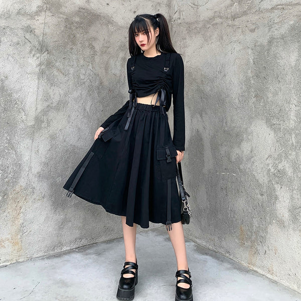 Black high waist all-match skirt  DB6160