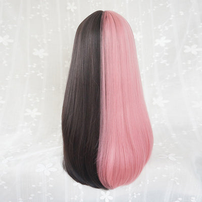 Pink + Black Colorblock Long Wig DB4095