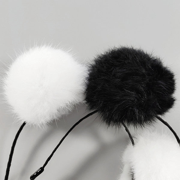 Black and white hair ball headband DB5017