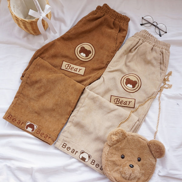 Bear embroidered wide-leg pants DB6064