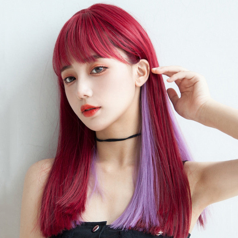 Red mixed purple mid-length wig DB6115
