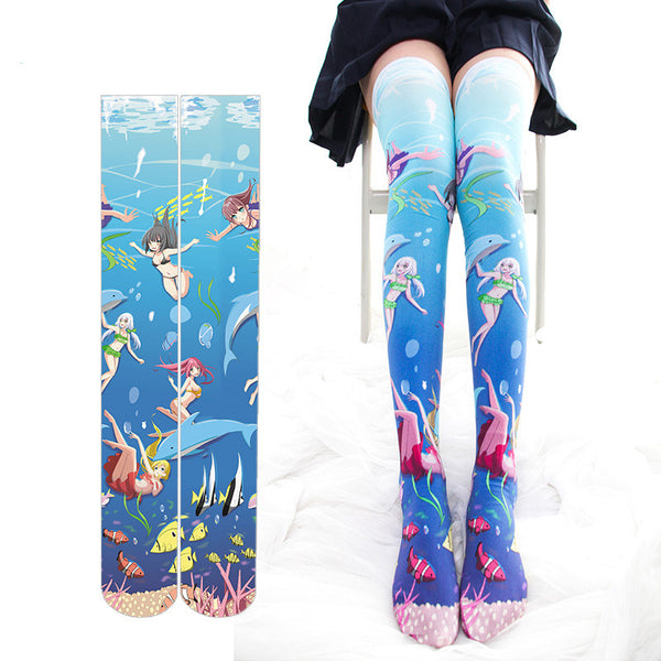 The Little Mermaid printed lacquered socks DB4696